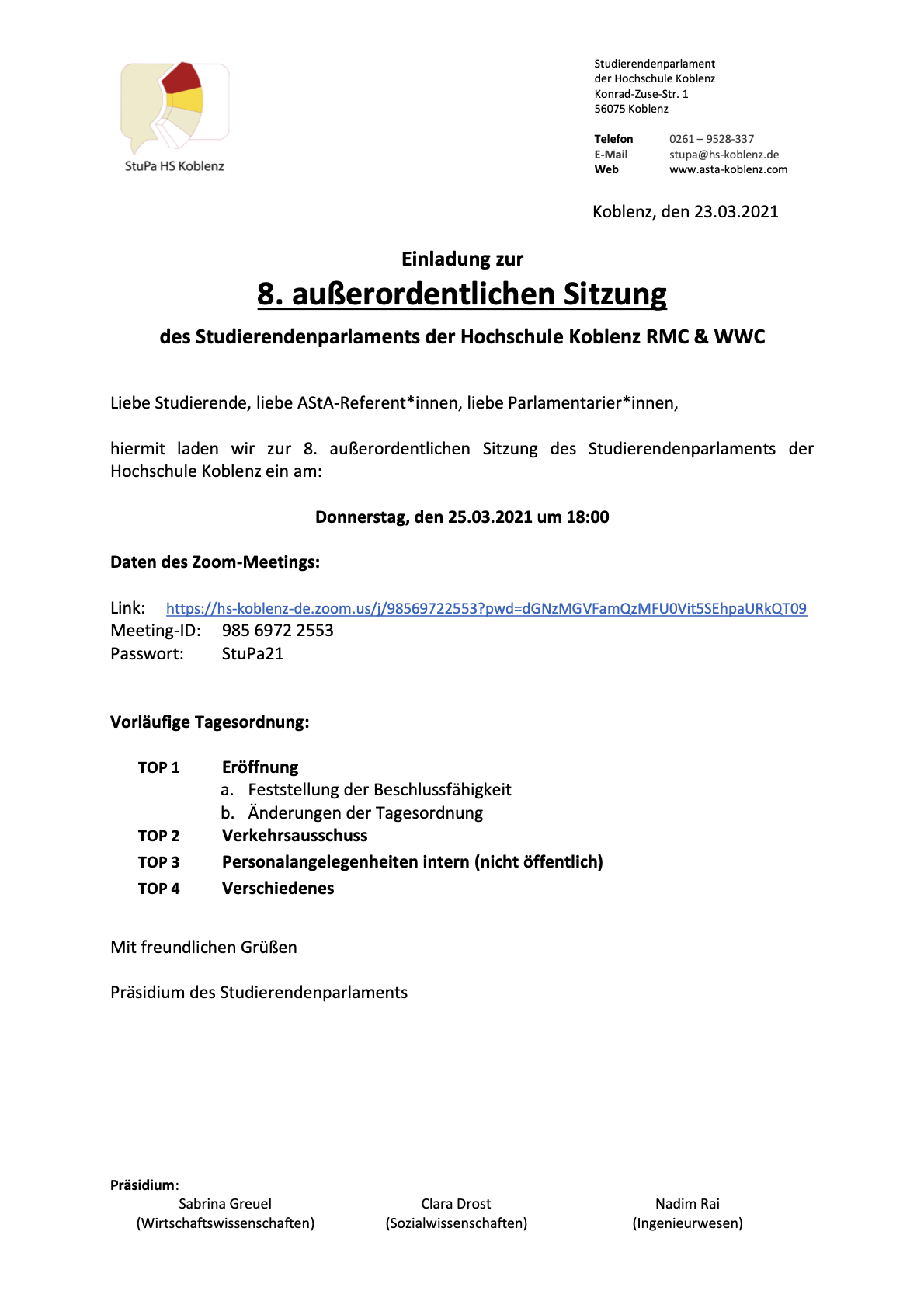 Einladung 8. außerordentliche StuPa-Sitzung 25.03.21